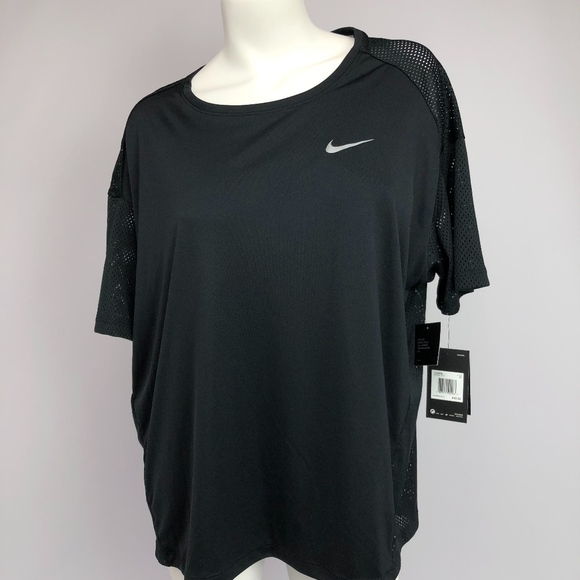 d2fadae4d Nike Tops   Womens Plus Size Dry Miler Running Top Black   Poshmark